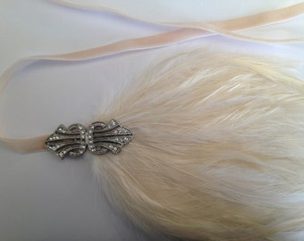 1920's Hair Accessories, Headbands for Great Gatsby Dresses, Champagne Flapper-feather headband, Hair Jewelry