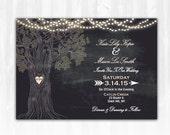Rustic Tree Wedding Invitation DIY PRINTABLE Digital File or Print (extra) Chalkboard Wedding Invitation String Lights Wedding Invitation