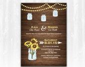 Sunflower Engagement Invitation DIY PRINTABLE Digital File or Print (extra) Mason Jar Engagement Invitation Lights Engagement Invitation
