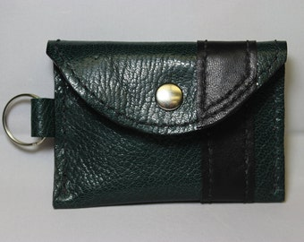 Hand stitched, Green leather change/credit card pouch/purse.  Black leather lining and accents including key chain.