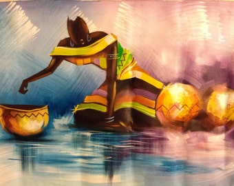 Holiday Gift Water is Life African Art painting Acrylic on Canvas