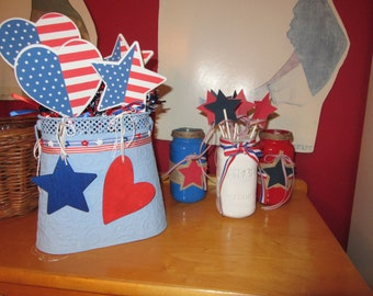 4th of July Celebrate the 4th July 4th Red White & Blue Centerpiece