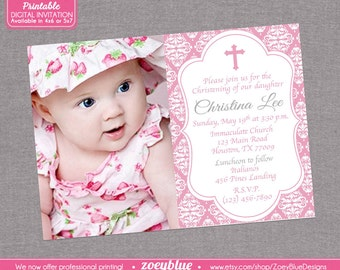Pink Damask Girl Baptism First Communion Christening Invite/ Confirmation Invitation- Pink Damask Invitation with Picture - Digital File