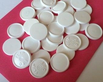 200 White Large 22mm flip off medication lids