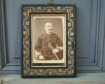 Antique french Military officer photo. 1900s man in military dress. Sepia tone photo. Black and white photo. Antique frame. Shabby french