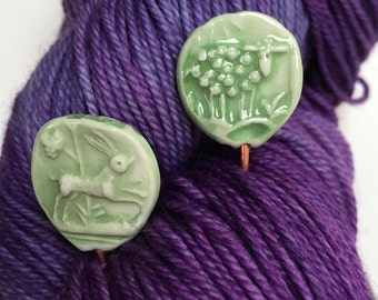 Watercolour moss green Sheep and Rabbit Shawl Pin  handmade clay knitting accessory imprinted on 2 sides