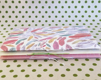 Quick-Stitched Journals with blank cream pages and hemp cord. Blank journals. Slim journals. Set of 3 journals.