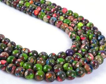"8MM10 8mm Multi-color sea sediment jasper pyrite round ball loose gemstone beads 16"""