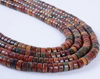 0661 6mm Multi-color picasso jasper heishi loose beads 16""