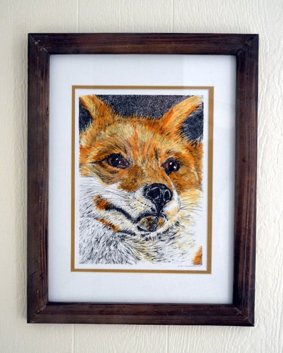 Red Fox, Original Pen and Ink Drawing