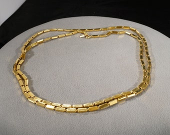 Vintage Art Deco Style Gold Tone Oblong Rectangular Link Necklace Jewelry  K