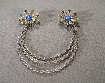 Vintage Art Deco Style Silver Tone Double Pin Three Strand Chains Flower Design Rhinestones Jewelry   K
