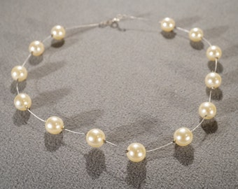 Vintage Art Deco Style Faux Pearl Euro Wire Necklace Jewelry   K