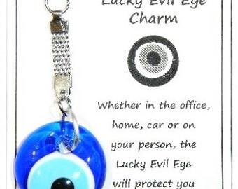 W090 Lucky Evil Eye Nazar Boncuk Keyring Charm - Good Luck & Protection Handmade