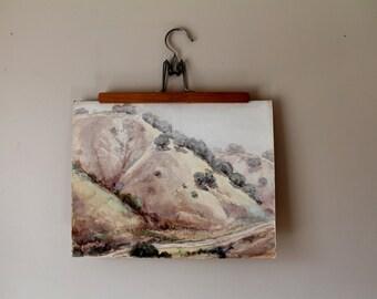 Original Watercolor Painting - Ian Hamilton Campbell - American Artist - Landscape - Trees - Hills - Fields - California
