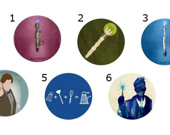 Sonic Screwdriver Button - Doctor Who Pin - Dr Who Magnet - 1 inch - Dalek Pin