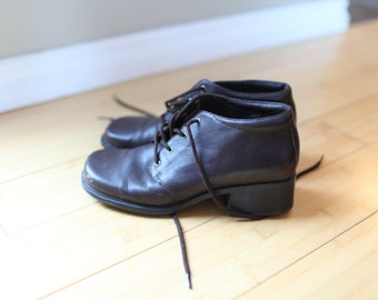 vintage brown leather oxfords ankle boots lace up womens 7 *