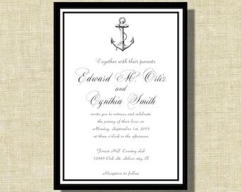 wedding invitations, Nautical wedding invite, Black and white Sailboat invitation suite
