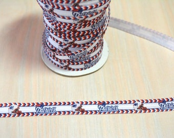 5/8 inch Fold Over Elastic, FOE - New England Patriots