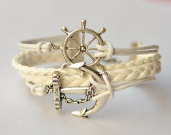 Silver Anchor & Rudder Charm Bracelet With White Wax Cord, Leather Braceelt, Gift for Friend, Birthday Gift