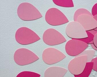 100 Pink ombré rain drops confetti/ pink rain drops / DIY rain drop garland/ punched blue raindrop/ raindrop scrapbooking embellishment