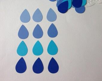 100 BLue rain drops confetti/ blue ombré rain drops DIY rain drop garland/ punched blue raindrop/ raindrop scrapbooking embellishment