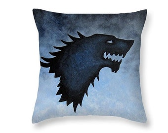 House Stark Pillow Game of Thrones Pillows - Game of Thrones Decor Direwolf - Geekery Stark Sigil TV Show Pillow - A Song of Ice and Fire