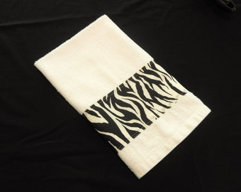 Zebra Hand Towel Kitchen Towel Black and White