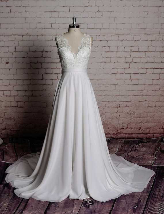 Simple A Line Wedding Gown Chiffon Bridal Gown With By