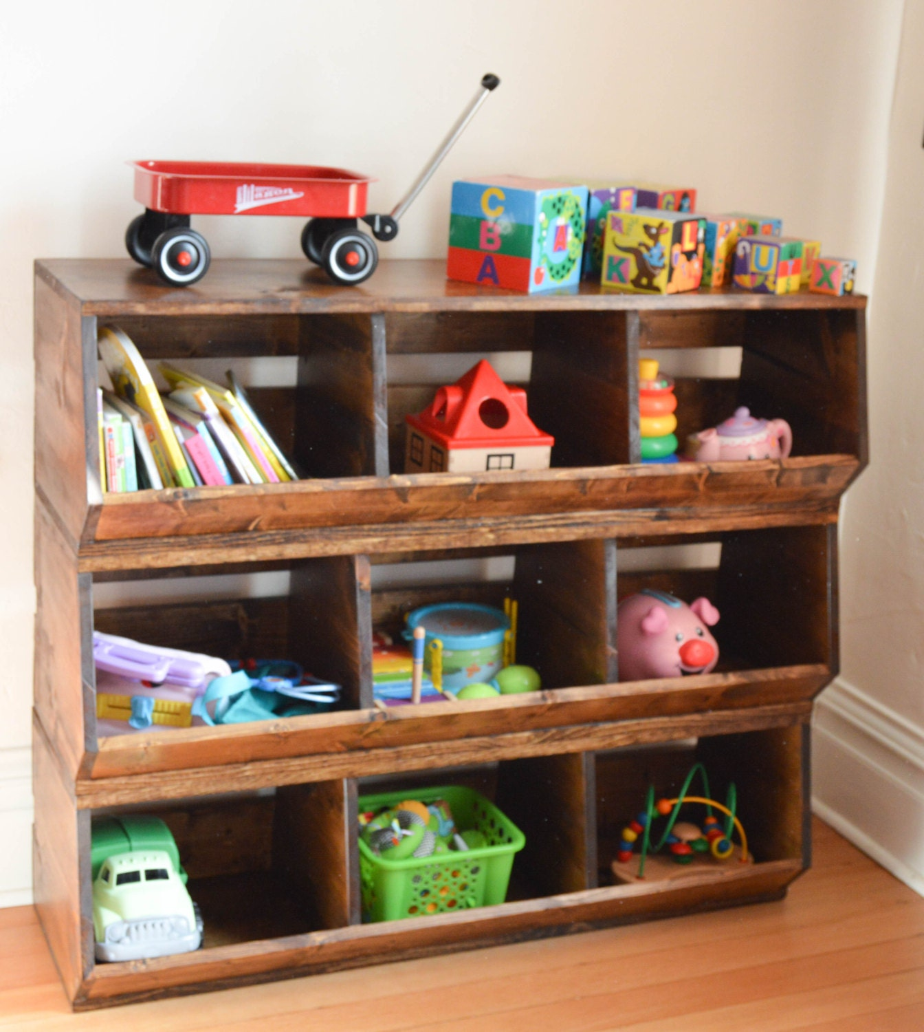 Custom wood toy bin storage stackable toy box - Etagere jouet bac rangement ...