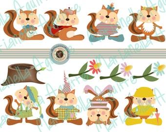 squirrel. CLIP ART .DIGITAL.