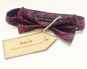 Baby boys bow tie, baby bow tie, floral boys bow tie, purple boys bow tie