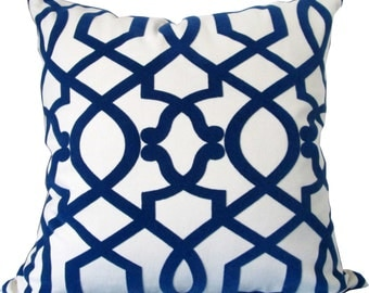 Sultana Lattice In Blue-Designer Decorative Pillow Cover-Royal Blue and Ivory Flocked Velvet Geometric-Accent Pillow-Single Sided