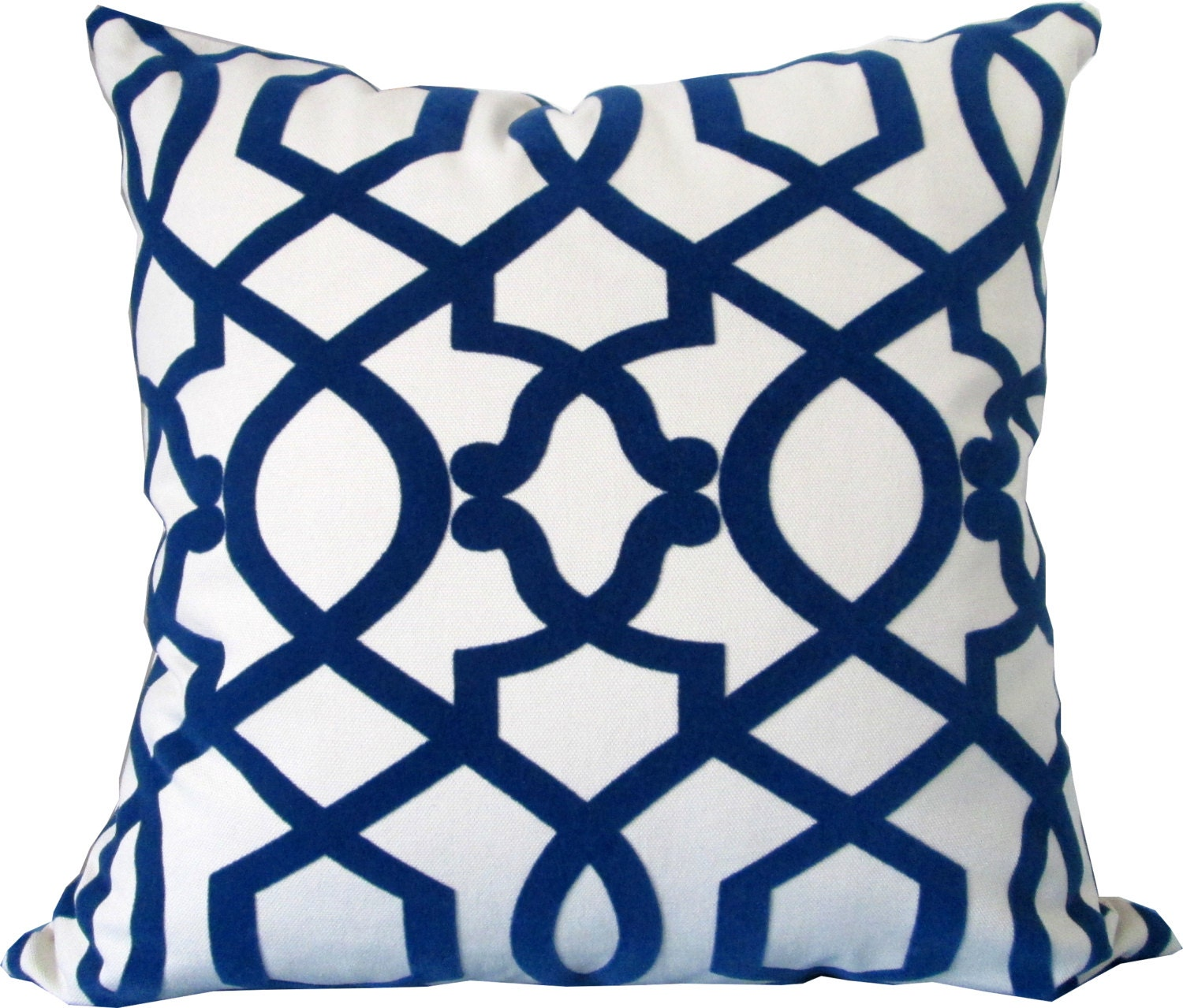 Designer Decorative Pillow Cover-Royal Blue and Ivory Flocked