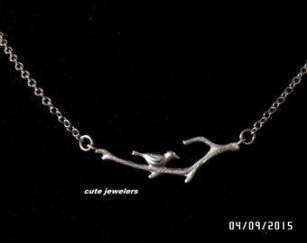 STERLING SILVER Bird on branch necklace, charm necklace for mom, sister,grandmother, Affordable Christmas gift c