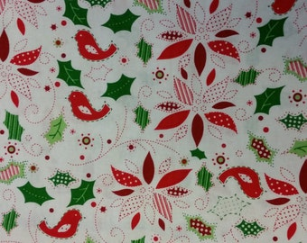 100 % Cotton Christmas Fabric Featuring White with Red and Green Holly & Birds -  By the Yard