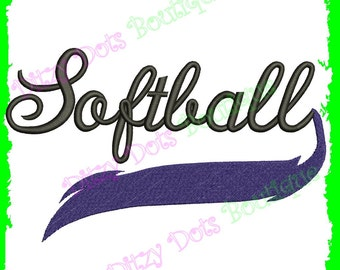 Softball Swoosh Machine Embroidery Design