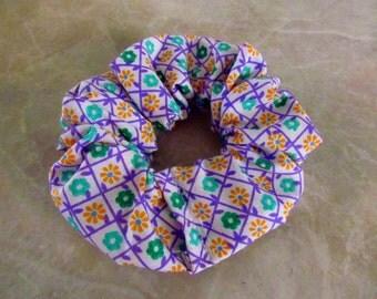 Flower Garden Handmade Hair Scrunchie 100% Cotton
