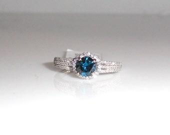 Blue Diamond 0.58 Carat with White Diamond Ring in 14k White Gold (7344)