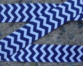"7/8"" Navy Chevron Ribbon School chevron ribbon navy and white ribbon 3yards chevron navy ribbon"