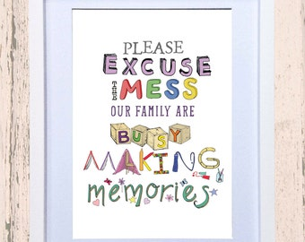 Messy Children Art Print