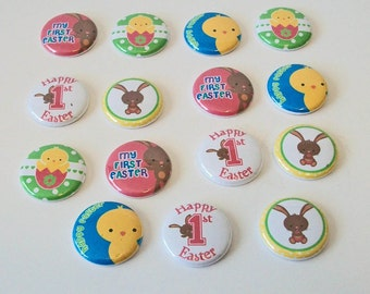 Cute Set of 15 First Easter Bunnies and Chicks 1 Inch Flat Back Embellishments Buttons Flair