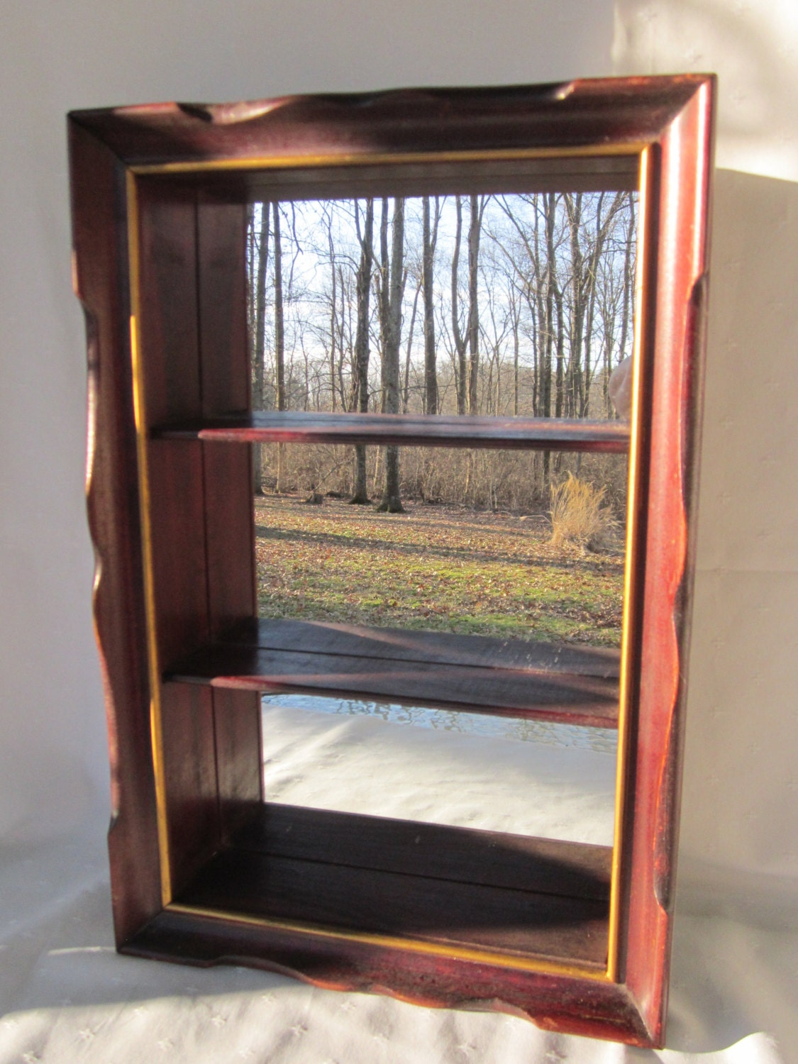 Wood shadow box wall shelf with mirror trinket display case for Mirrored box shelves