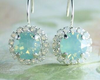 crystal earrings,aqua mint earrings,seafoam earrings,opal earrings,swarovski crystal earrings,aqua earrings,bridesmaid earrings,bridal stud