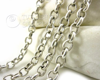 5mm Rolo Chain, 1 Meter - 3.3 Feet,  Antique Silver Plated Link Chain, Turkish Jewelry
