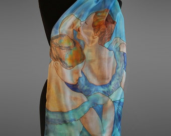 Degas Blue dancers silk scarf. Hand painted silk scarf.  Pure silk scarf.  Made to order.