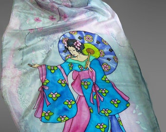 Designer silk scarf. Hand painted silk scarf with Geisha and pink sakura on grey. Floral silk scarf. Made to order.