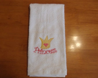 Embroidered ~PRINCESS CROWN~ Bathroom Hand Towel