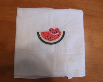 Embroidered ~WATERMELON SLICE~ Flour Sack Kitchen Towel