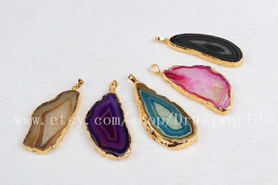 What Color Is Onyx Gemstone : Dyed color onyx agate druzy slice pendant bead gold plated